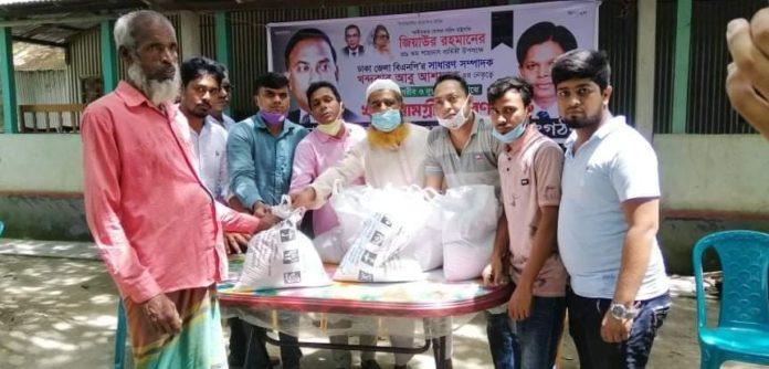 মাহমুদপুরে ঢাকা জেলা বিএনপির ত্রান বিতরন