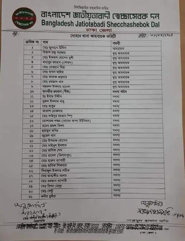 দোহার উপজেলা স্বেচ্ছাসেবক দলের আহবায়ক কমিটি গঠিত